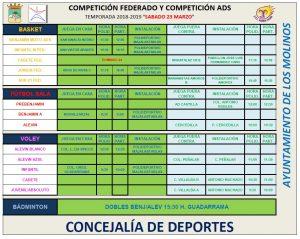 Horarios deporte federado 23 de marzo 2019 @ Polideportivo Majalastablas
