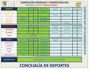 Horarios para el sábado 9 de marzo deporte federado @ POLIDEPORTIVO MAJALASTABLAS