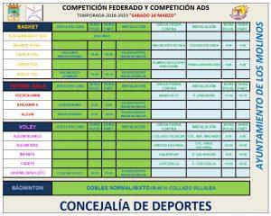 Horarios deporte federado @ Polideportivo Majalastablas