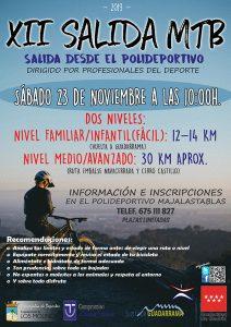 XII Salida MTB 23 de noviembre @ Polideportivo Majalastablas
