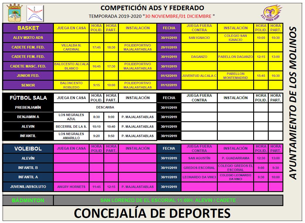 Horarios Competición ADS y Federado 30 de noviembre y 1 de diciembre @ Polideportivo Majalastablas