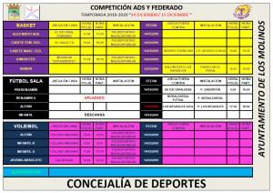 Horarios competición ADS @ Polideportivo Majalastablas