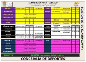 Horarios fin de semana 1 y 2 de febrero @ Polideportivo Majalastablas