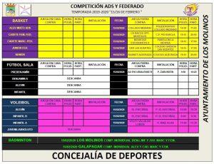 Horarios deporte federado 15-16 febrero @ Polideportivo Majalastablas