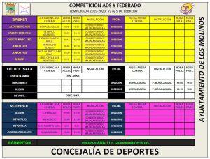 Horarios deporte federado 7, 8 y 9 de febrero @ Polideportivo Majalastablas