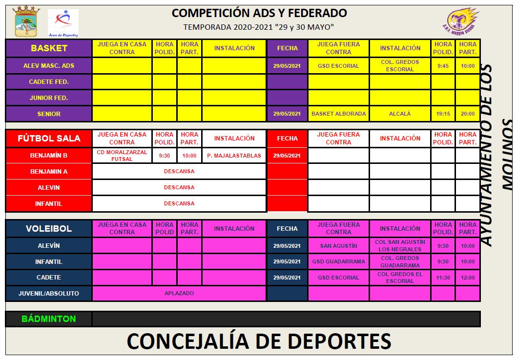 Horarios deporte federado 29 y 30 mayo @ Polideportivo Majalastablas