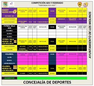 Horario deporte federado 23-10-2021 @ Polideportivo Majalastablas