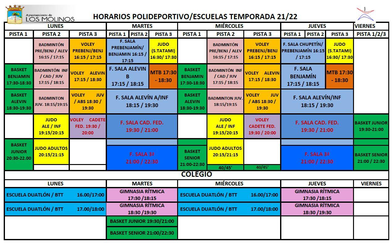 HORARIO ESCUELAS DEPORTIVAS 2021